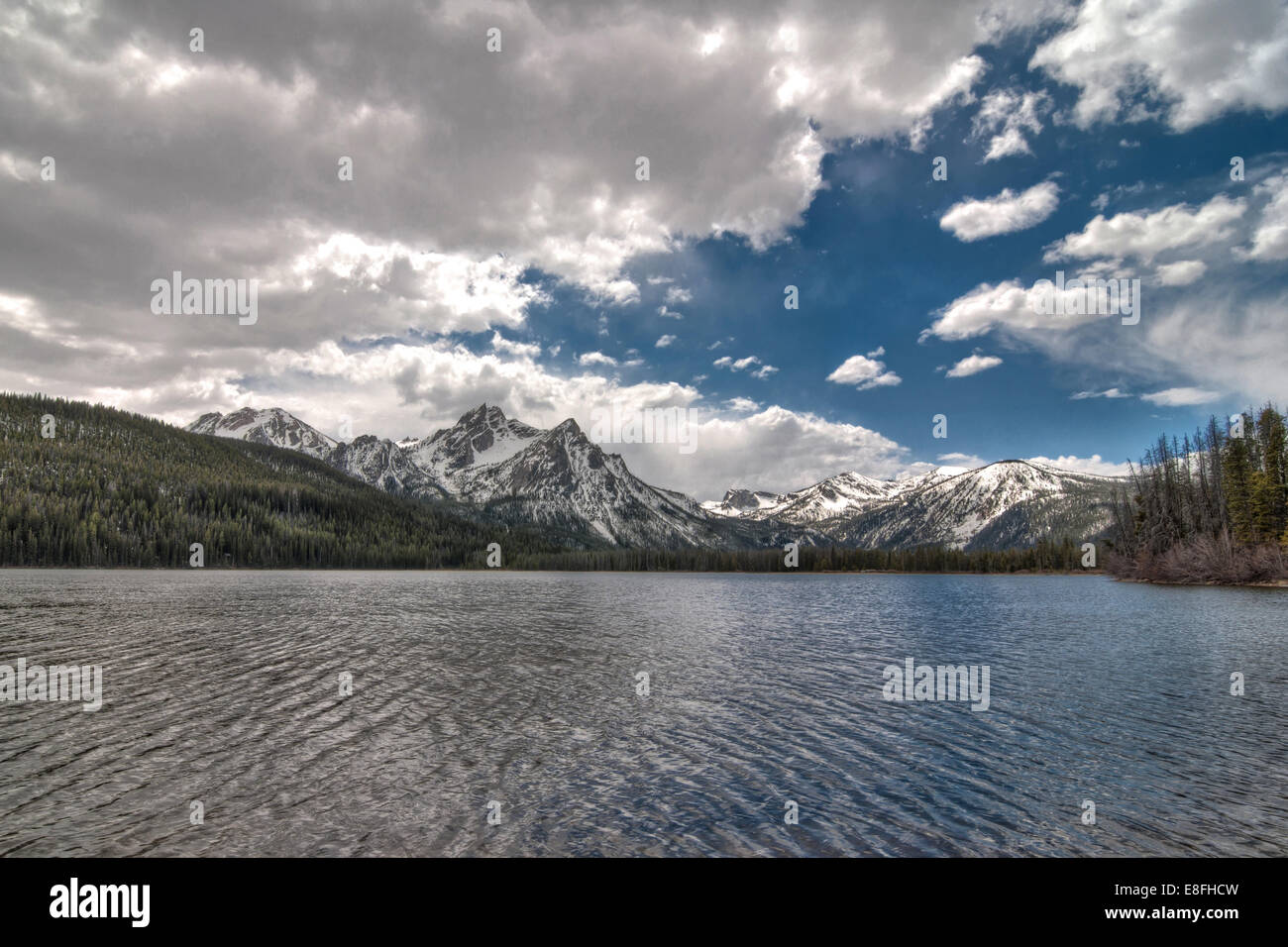 USA, Idaho, Custer County, Custer, Stanley Lake, National Forest Development, Lakeside view of Mountains Stock Photo