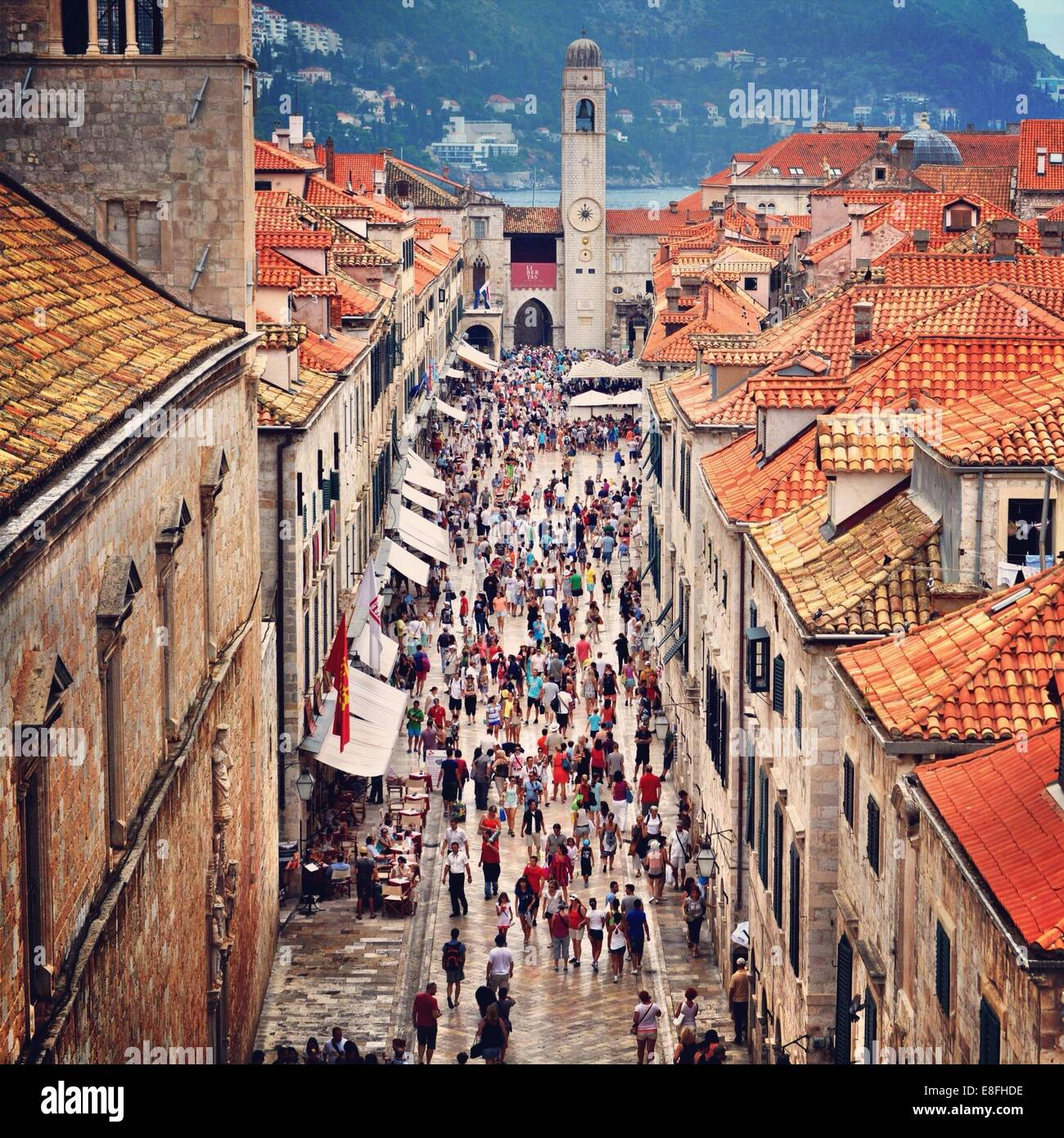Croatia, Dubrovnik, Street full of people - Stock Image