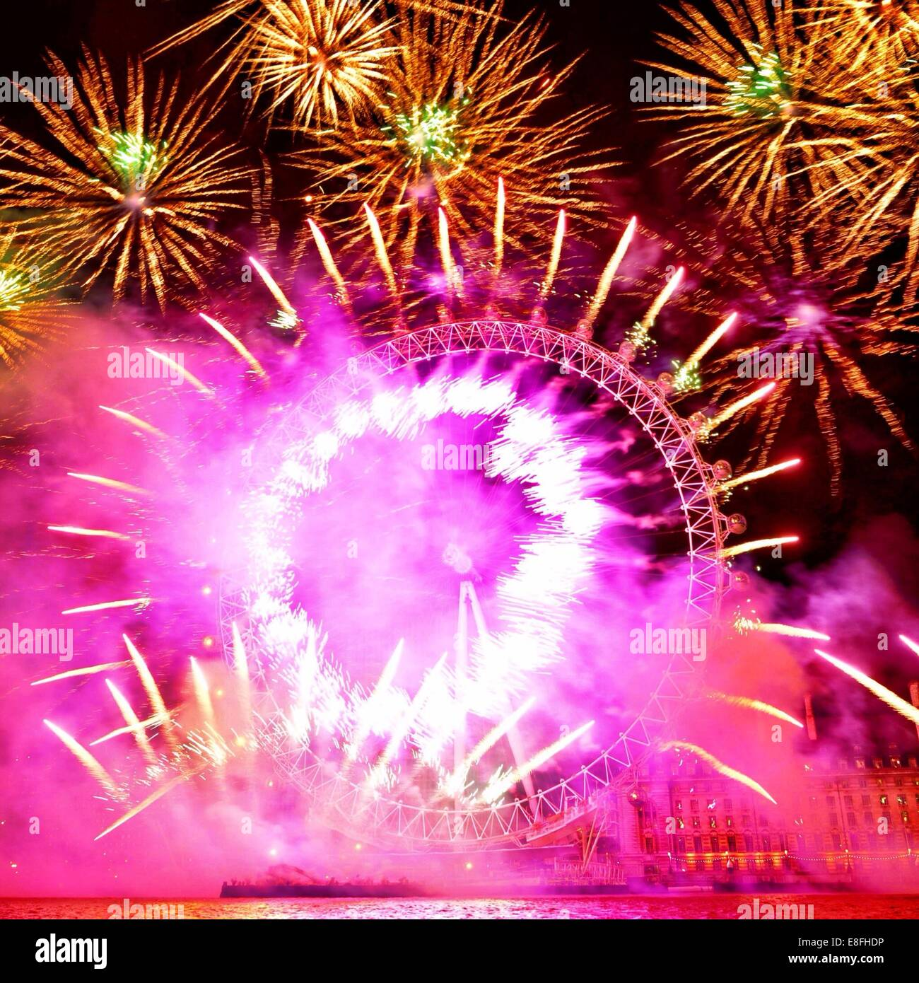 United Kingdom, London, London Eye fireworks - Stock Image
