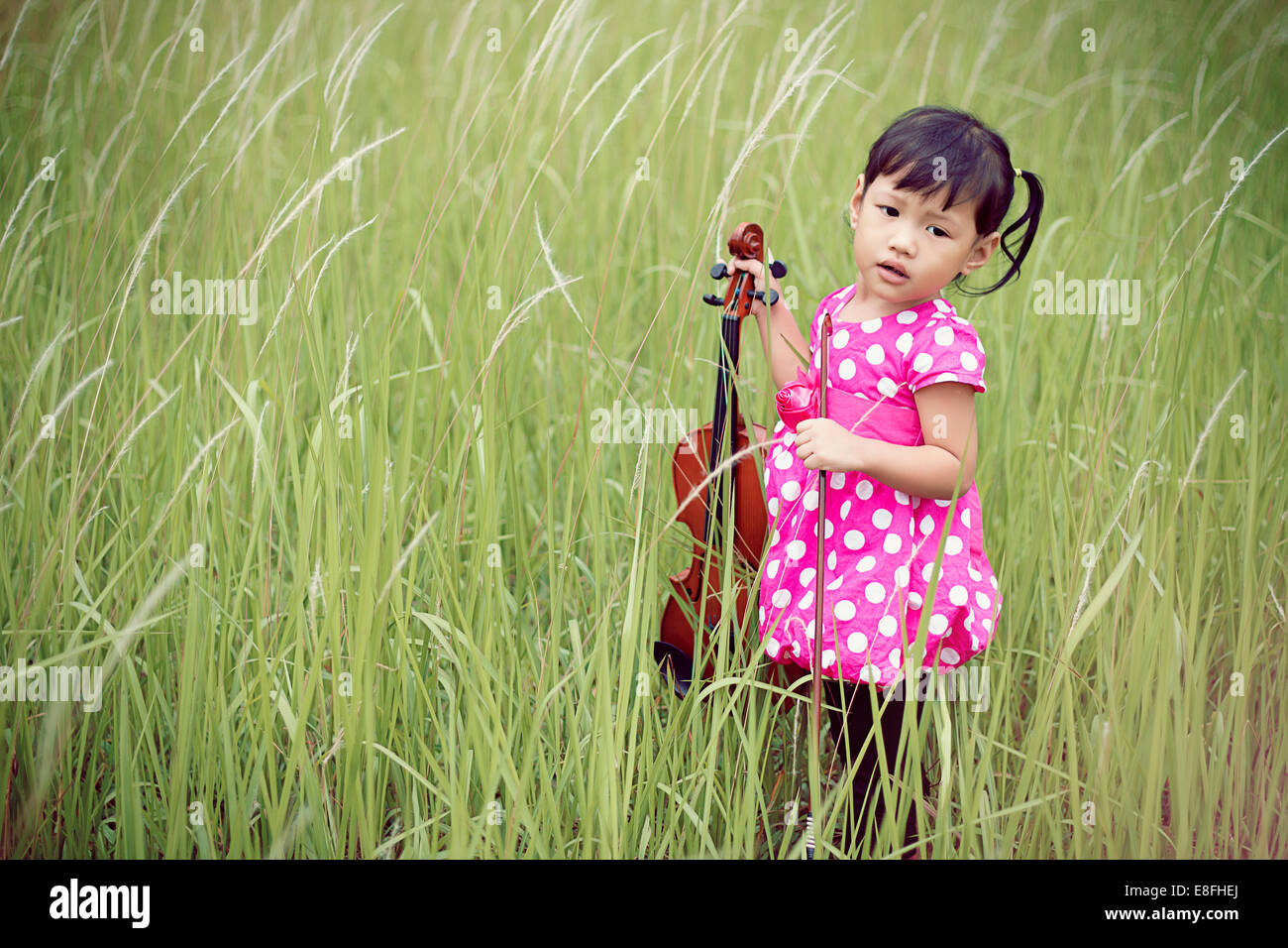 Girl standing in meadow holding violin - Stock Image
