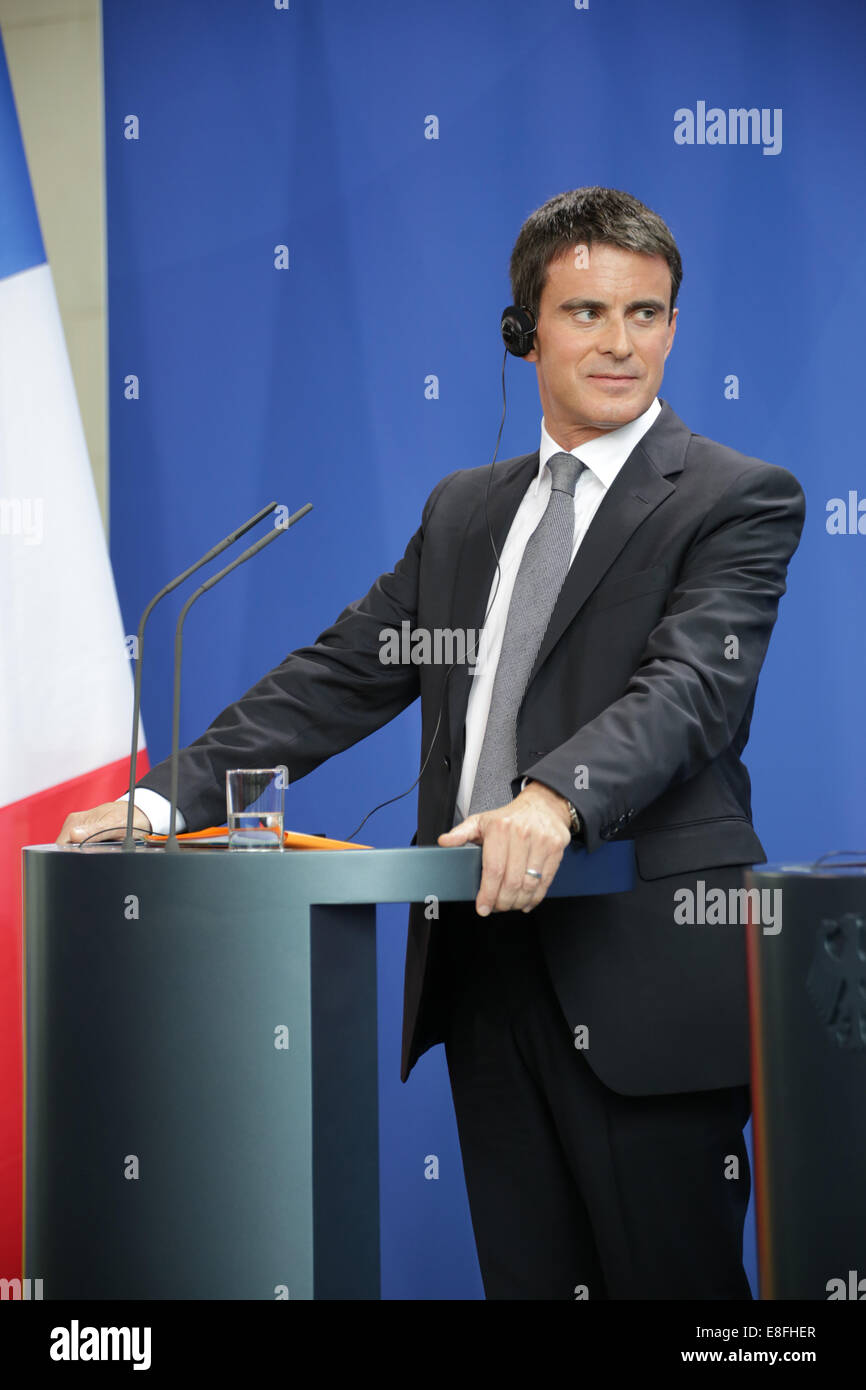 Manuel Valls and Angela Merkel hold press statements at German chancellery on Sept. 22nd, 2014 in Berlin, Germany - Stock Image