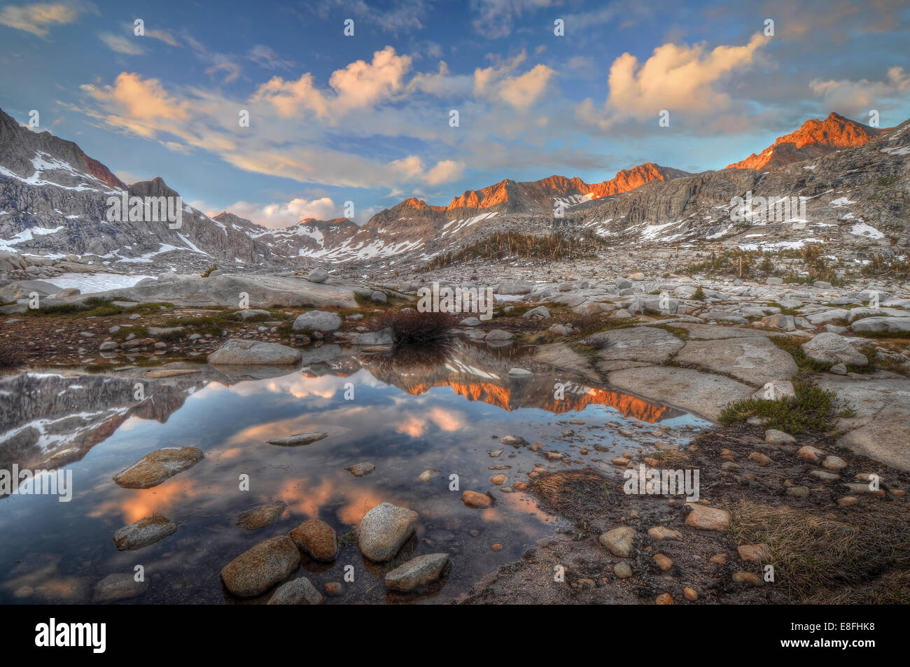 USA, California, Sequoia National Park, Sunset over Nine Lake basin - Stock Image