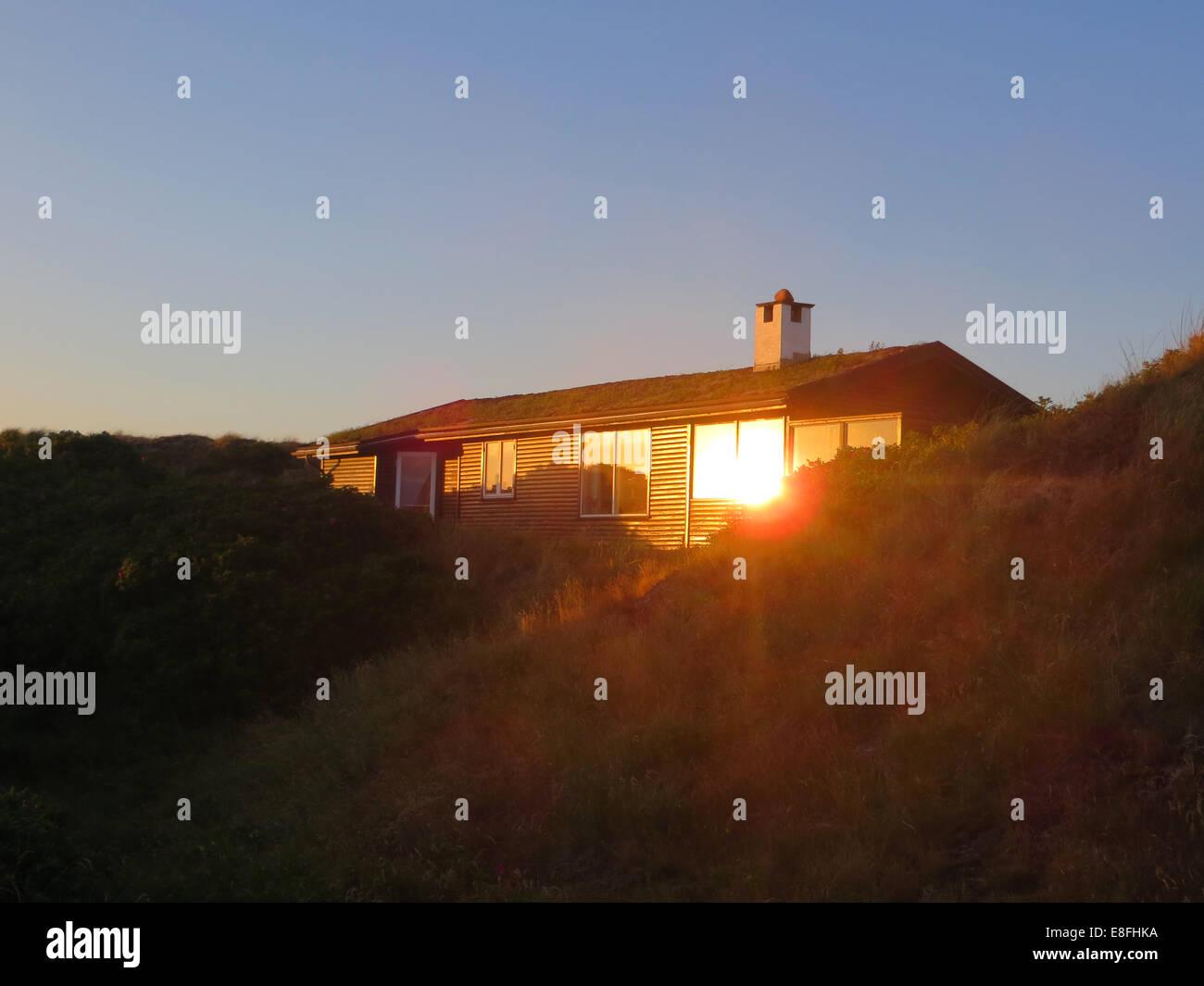 Summerhouse at dusk, Fanoe, Denmark - Stock Image