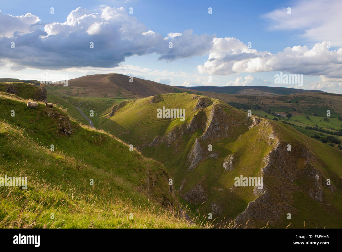 View from above Winatts Pass near Castleton with Mam Tor in the background, High Peak, Derbyshire, England, UK - Stock Image