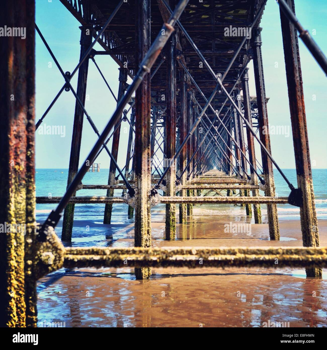 Isle of Man, Underneath Queen's Pier - Stock Image