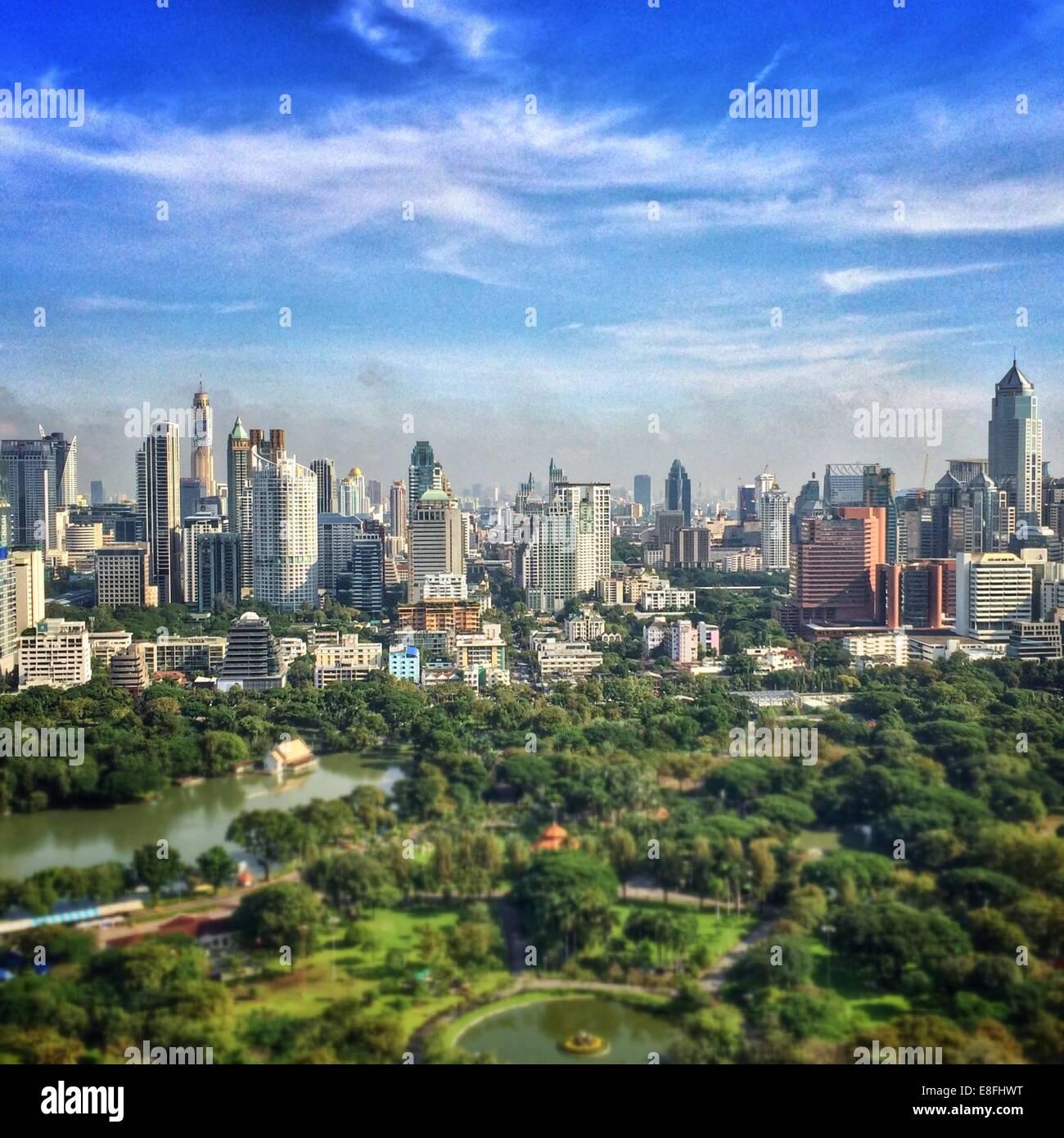 Thailand, Bangkok, Elevated view of cityscape - Stock Image