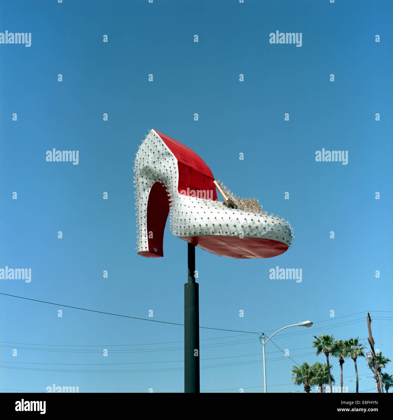 High Heel monument against clear sky - Stock Image