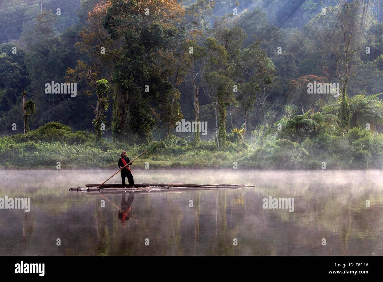 Indonesia, West Java, Karawang, Situ Gunung, Fishermen - Stock Image
