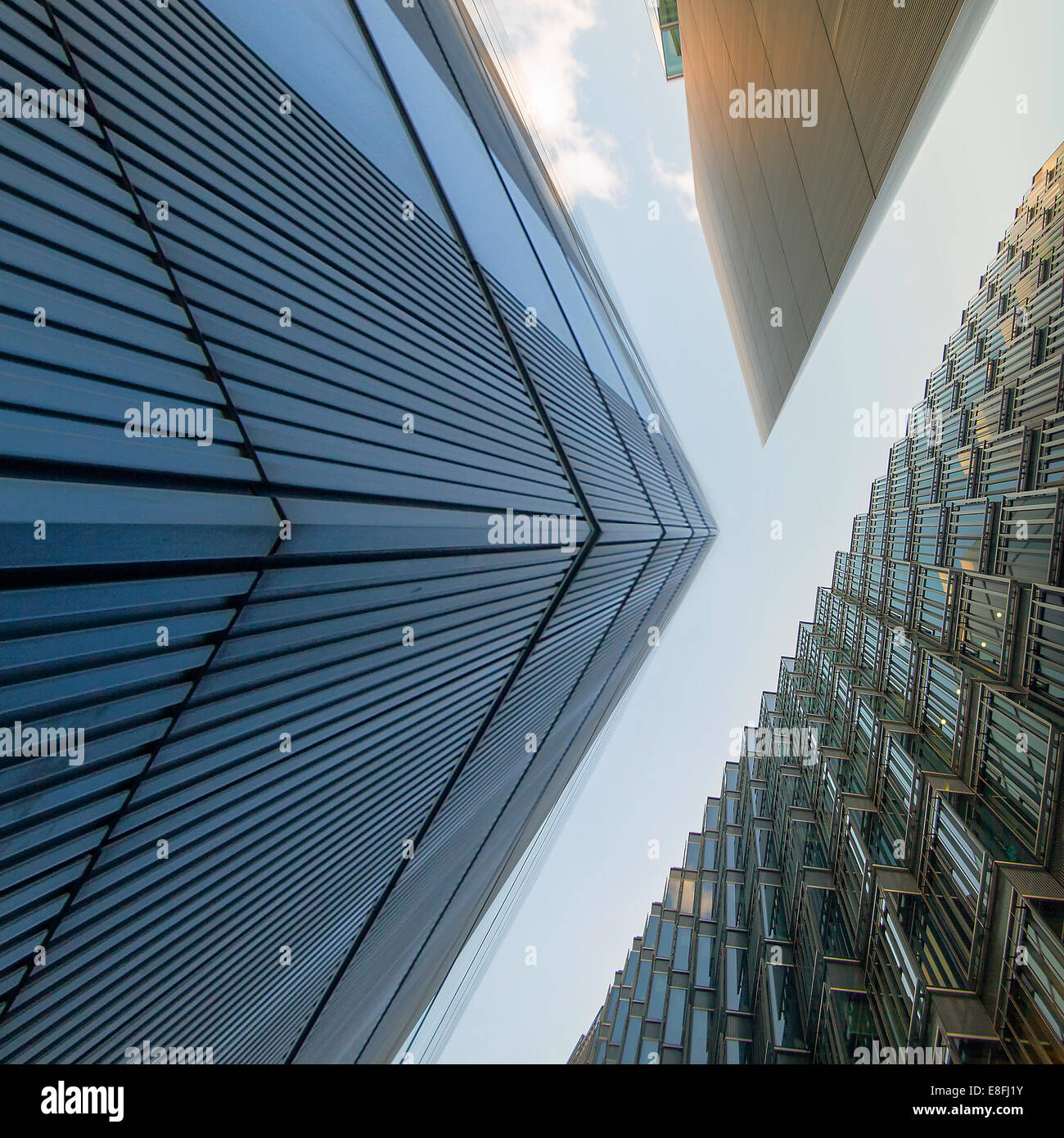 Low angle view of office buildings, London, England, UK - Stock Image