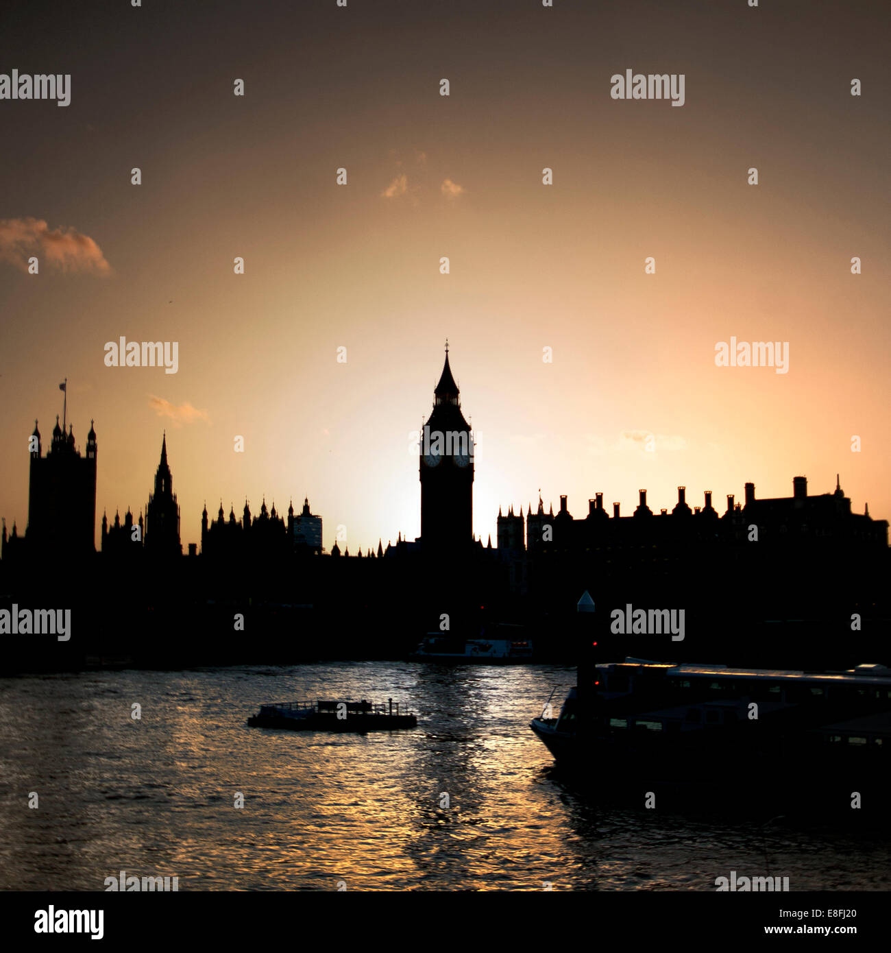 Houses of Parliament and Big Ben at sunset, London, England, United Kingdom Stock Photo