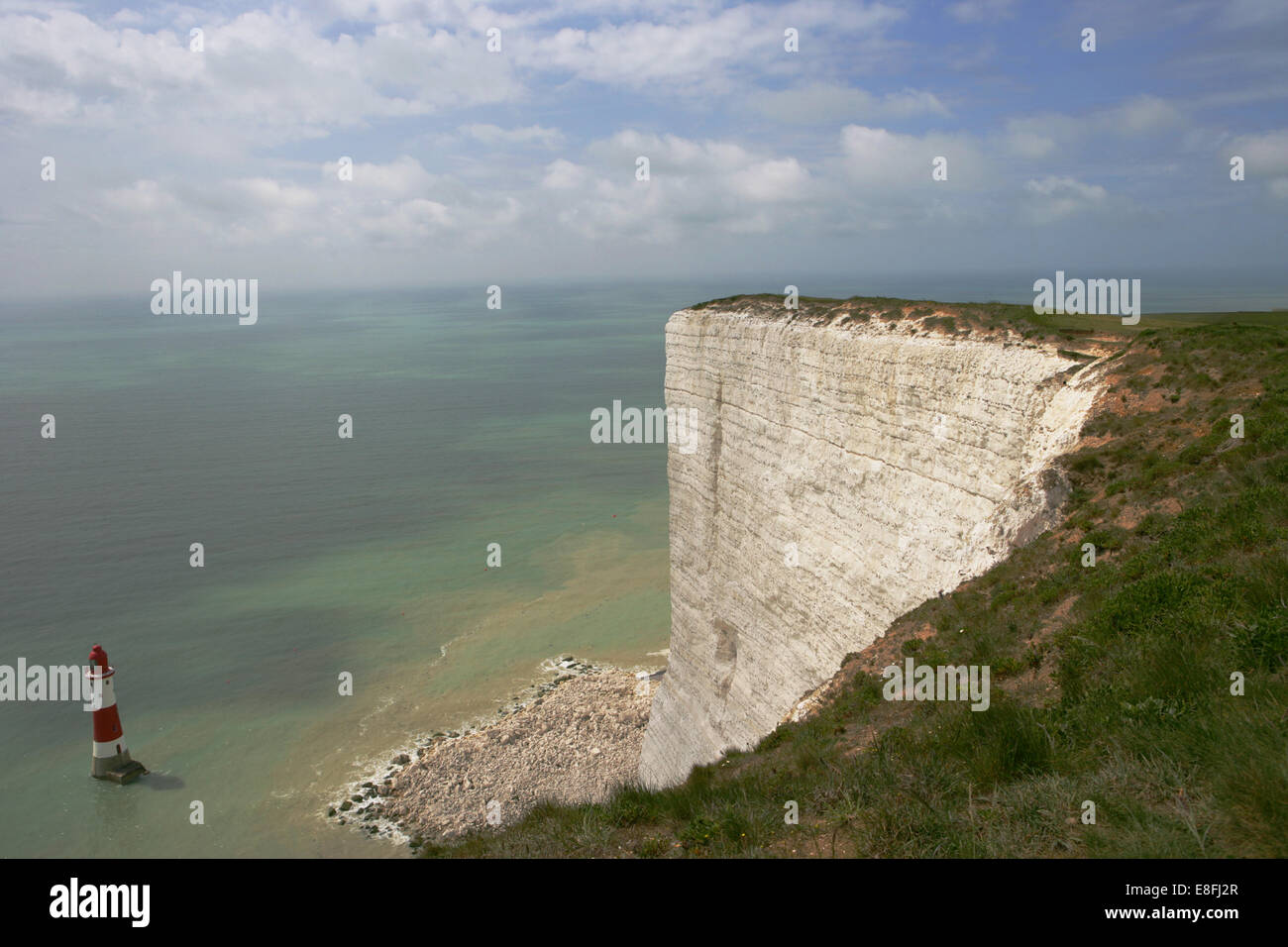 Lighthouse, Beachy Head, Eastbourne, East Sussex, England, UK - Stock Image