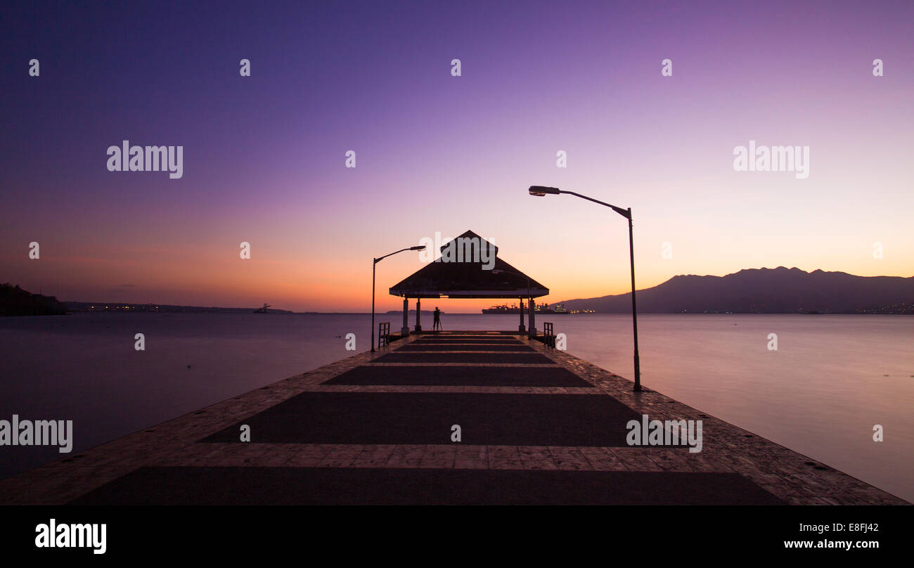 Pier at sundown - Stock Image