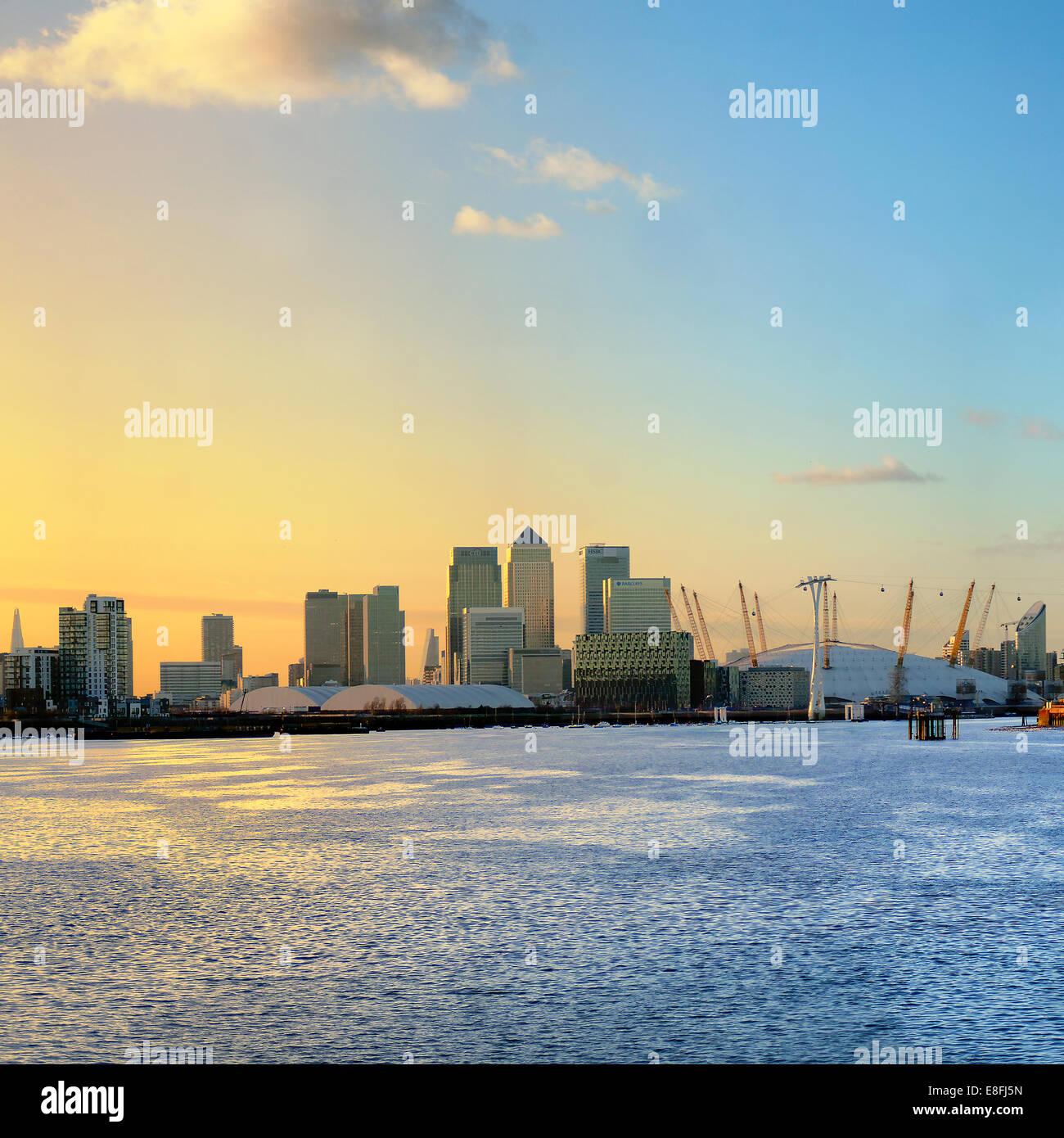 UK, England, London, Canary Wharf, Skyline at sunrise - Stock Image
