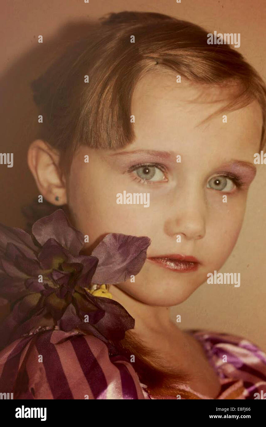 USA, Pennsylvania, Portrait of girl in princess costume - Stock Image