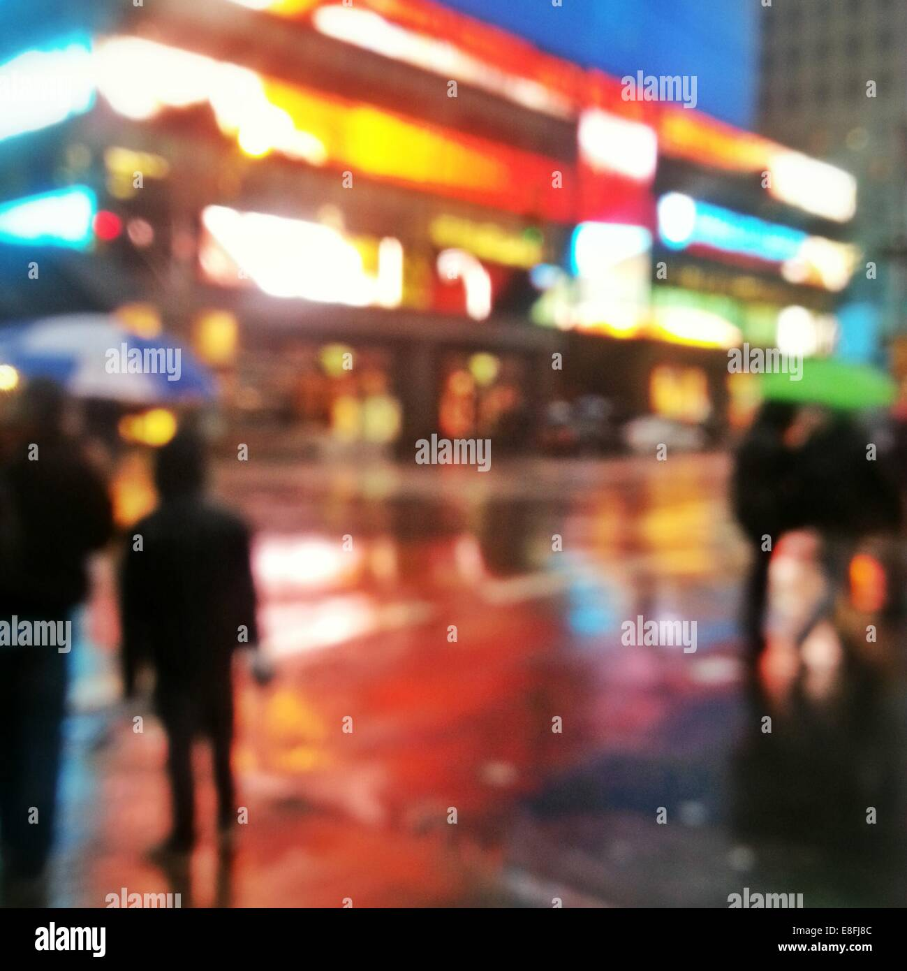 Abstract urban street scene at night, Manhattan, New York, America, USA - Stock Image