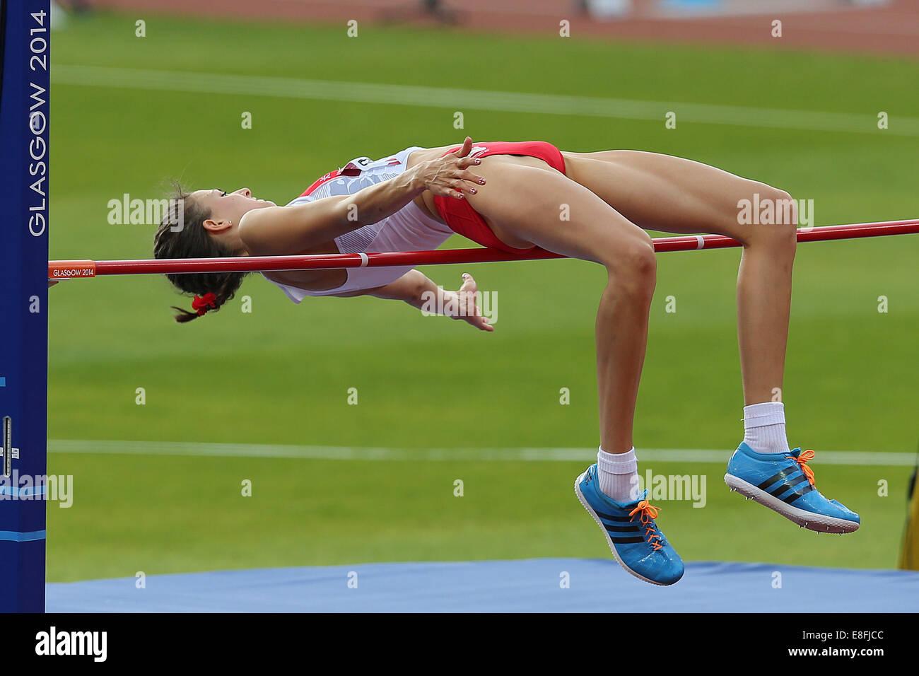 Isobel Pooley (ENG) wins the Silver Medal - Womens High Jump Final. Athletics - Hampden Park - Glasgow - UK - 01/08/2014 - Stock Image