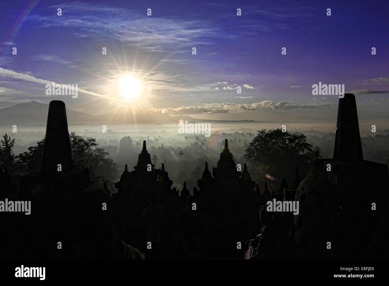 Indonesia, Central Java, Magelang, Silhouette of Borobudur Temple, 9th century - Stock Image