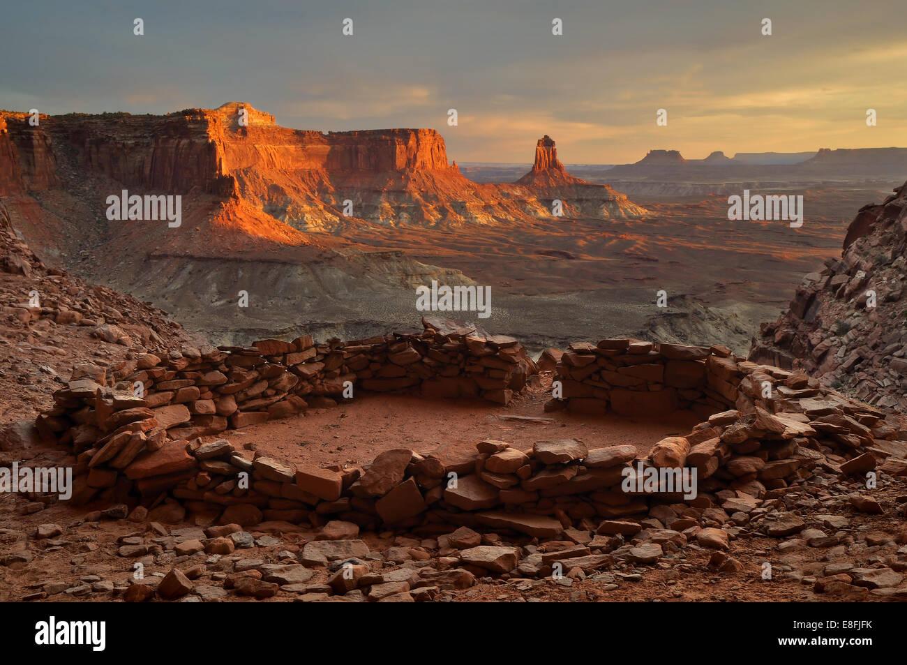 USA, Utah, Canyonlands National Park, View of False Kiva at Sunset - Stock Image