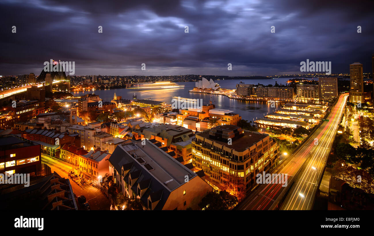 Australia, Sydney, Urban sprawl at down - Stock Image
