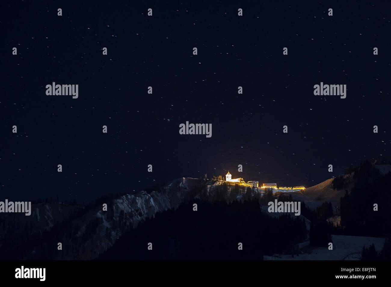 Italy, Udine, Monti Lussari, Starry sky - Stock Image