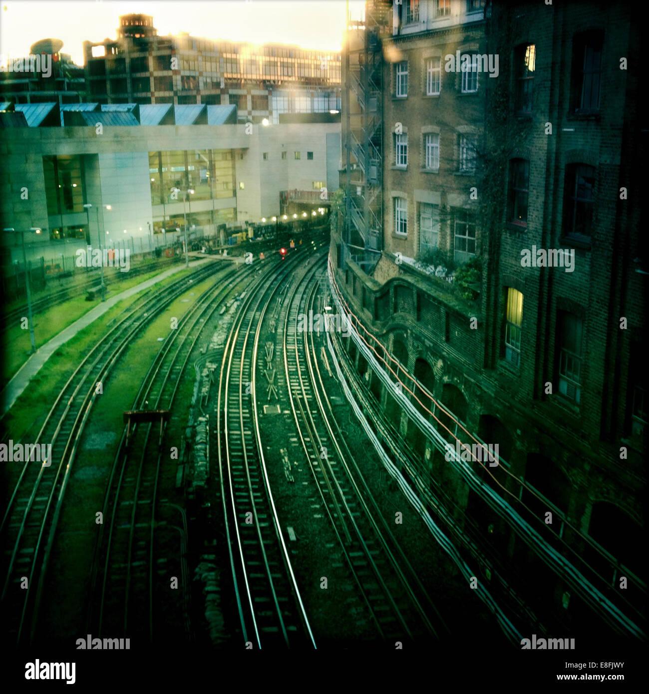 UK, London, Clerkenwell, Cowcross Street, Farringdon, Railway lines - Stock Image