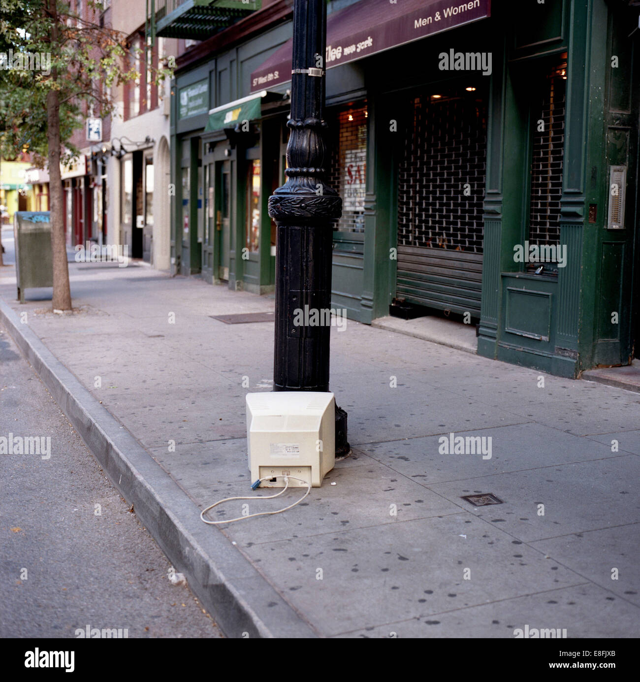 USA, New York State, New York City, Old monitor left on street Stock Photo