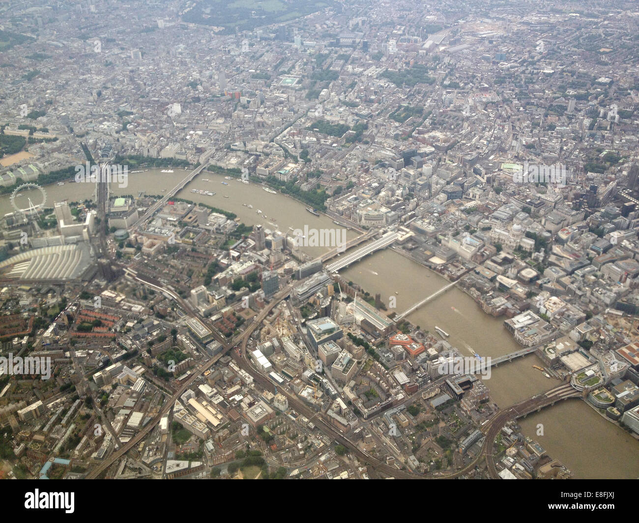 Aerial view of cityscape and river Thames, London, England, UK Stock Photo