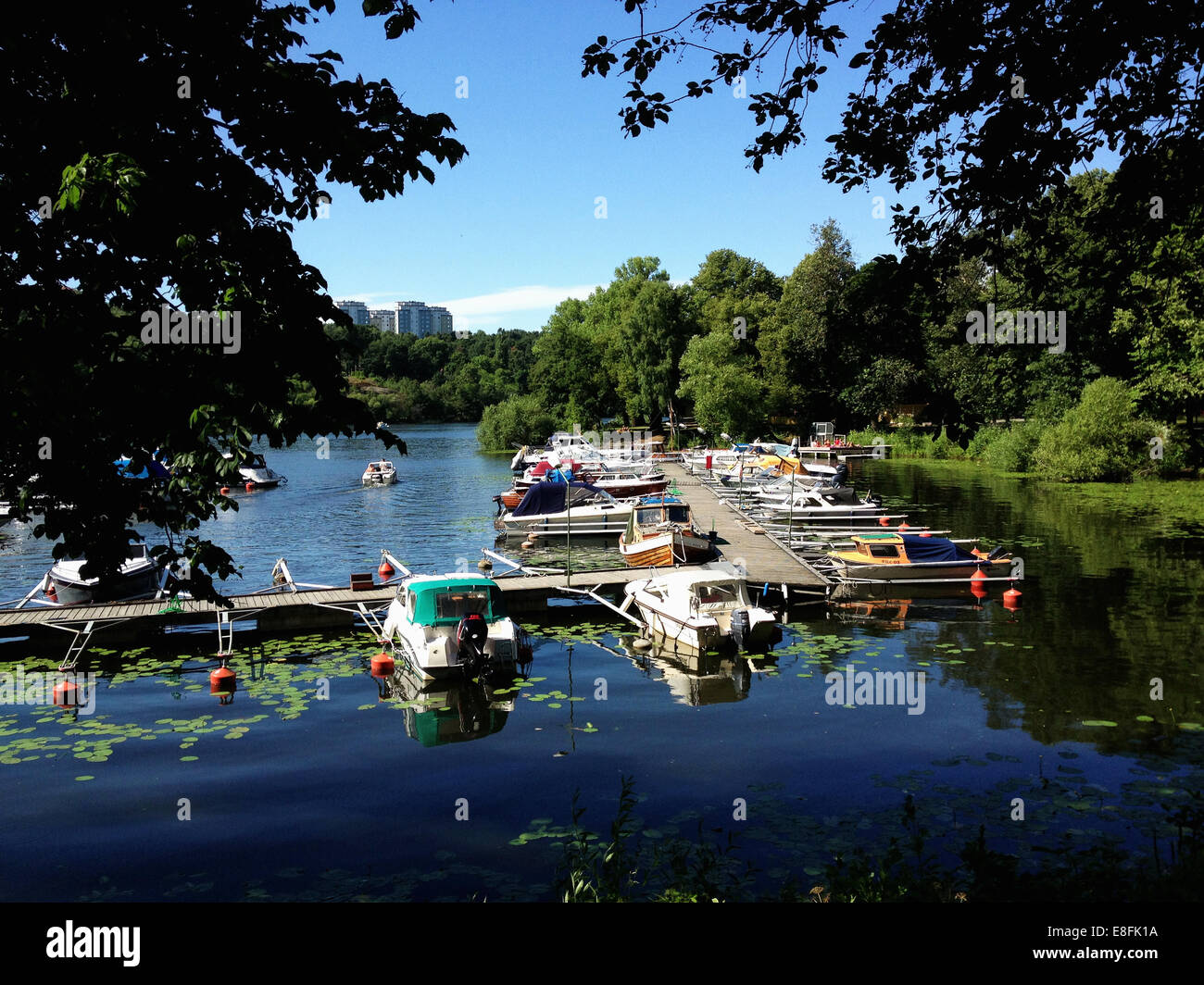 Boats moored along wooden jetty, Stockholm, Sweden - Stock Image