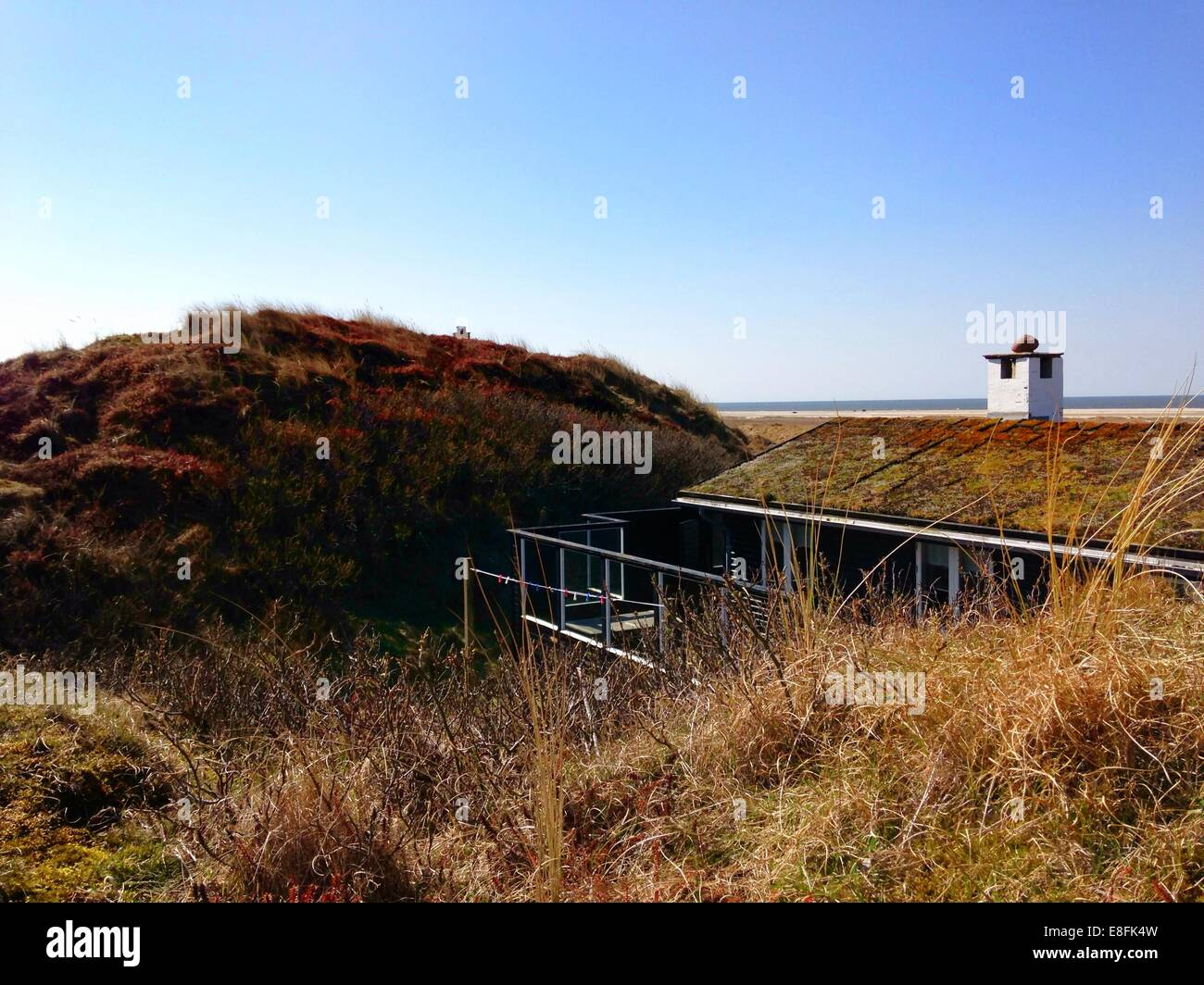 Elevated view of Traditional summerhouse, Fanoe, Denmark - Stock Image