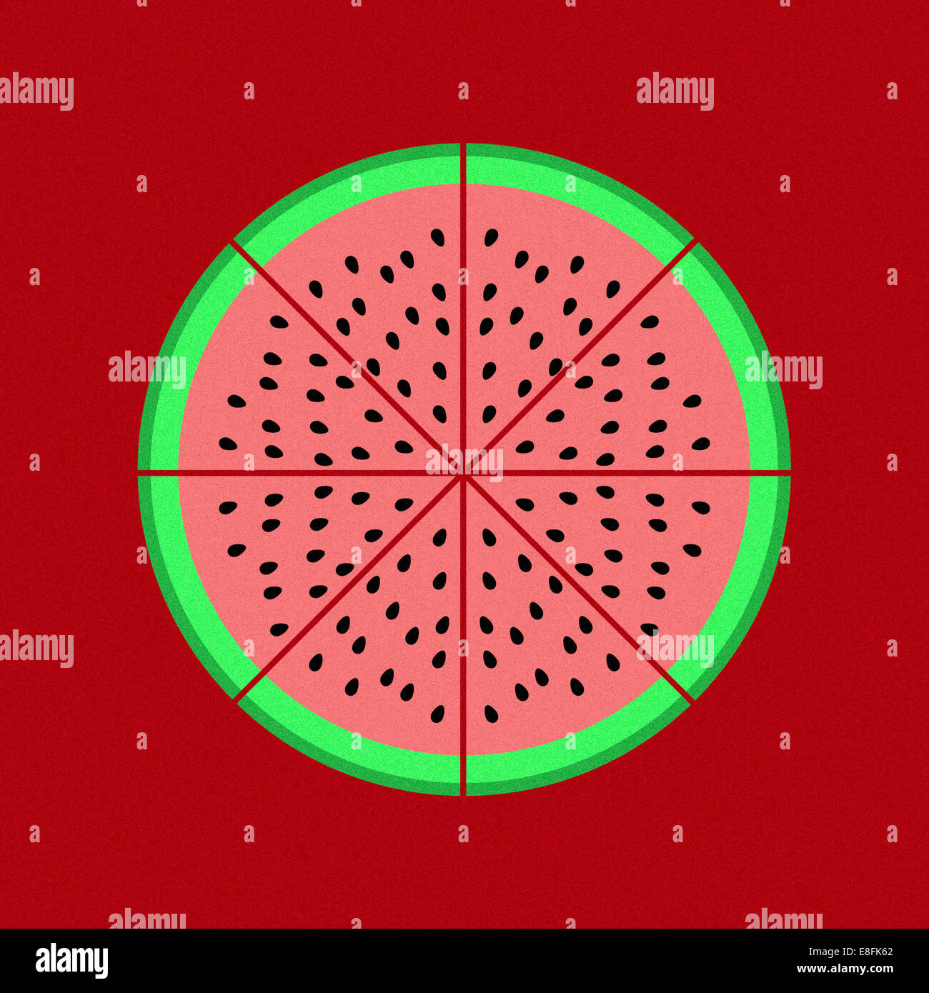 Pie chart graphic on red background - Stock Image