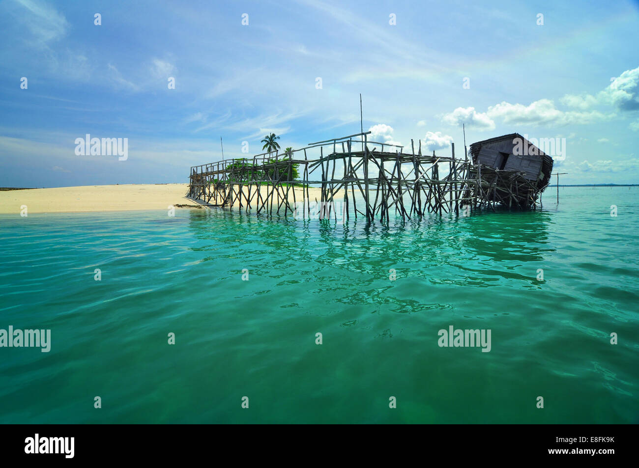 Indonesia, Bangka Belitung, Belitung Island Riau, Broken hut on pier - Stock Image