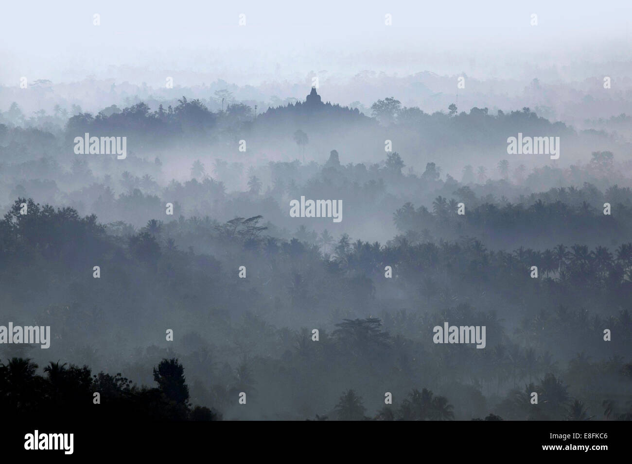 Indonesia, Central Java, Morning in Borobudur Temple - Stock Image