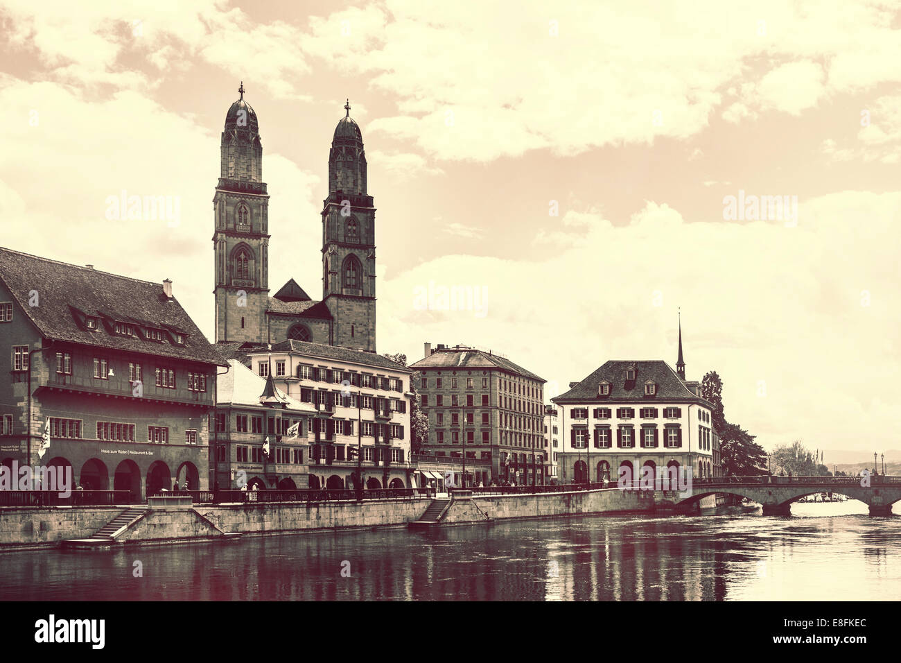 Switzerland, Zurich, View at Limmat river and towers - Stock Image