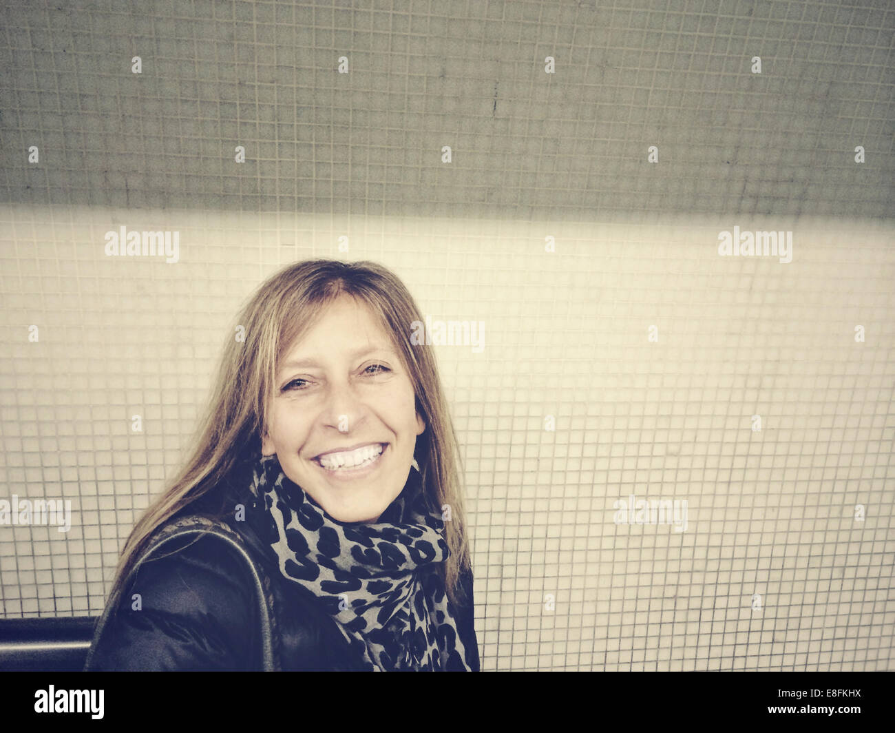 London, UK Smiling Woman Portrait - Stock Image