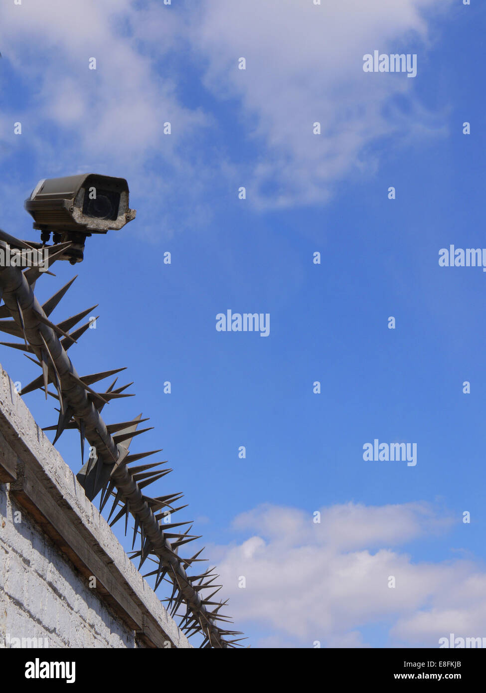 Security Camera And Rota Spike Security Fencing - Stock Image