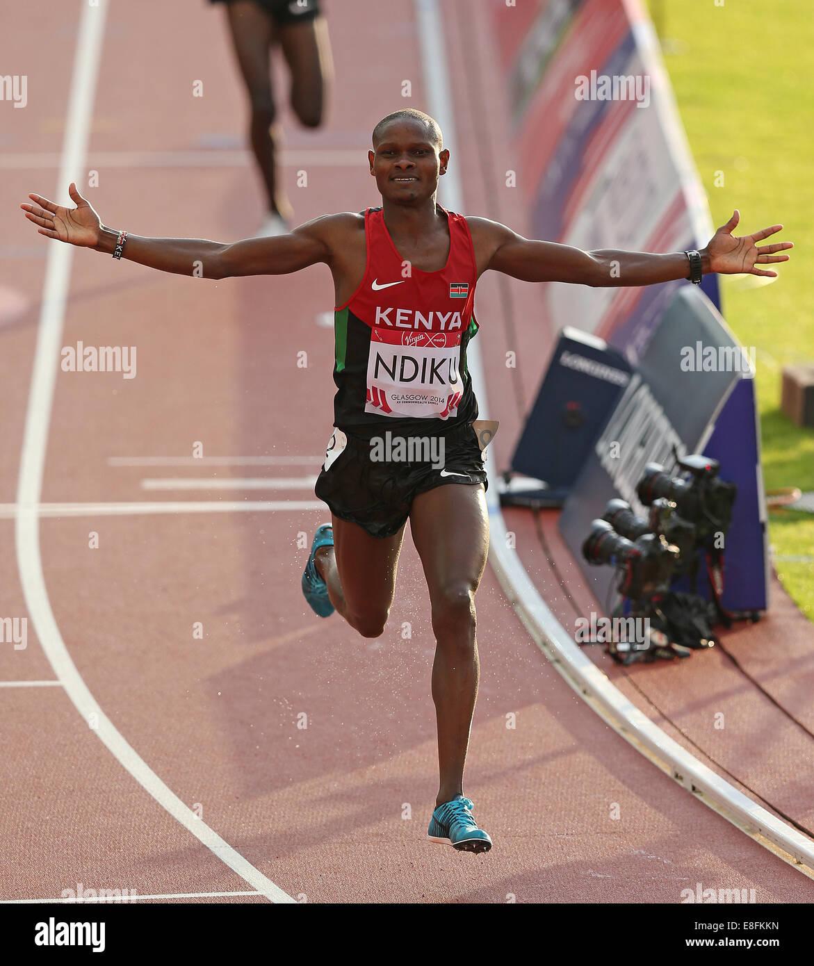 Jonathan Ndiku (KEN) wins the Gold Medal - Mens 3000m Steeplechase Final. Athletics - Hampden Park - Glasgow - UK Stock Photo
