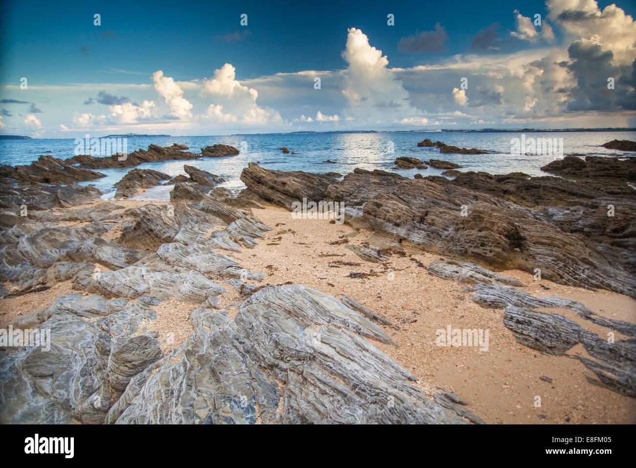 Japan, Okinawa, Rocks on Kin Beach - Stock Image