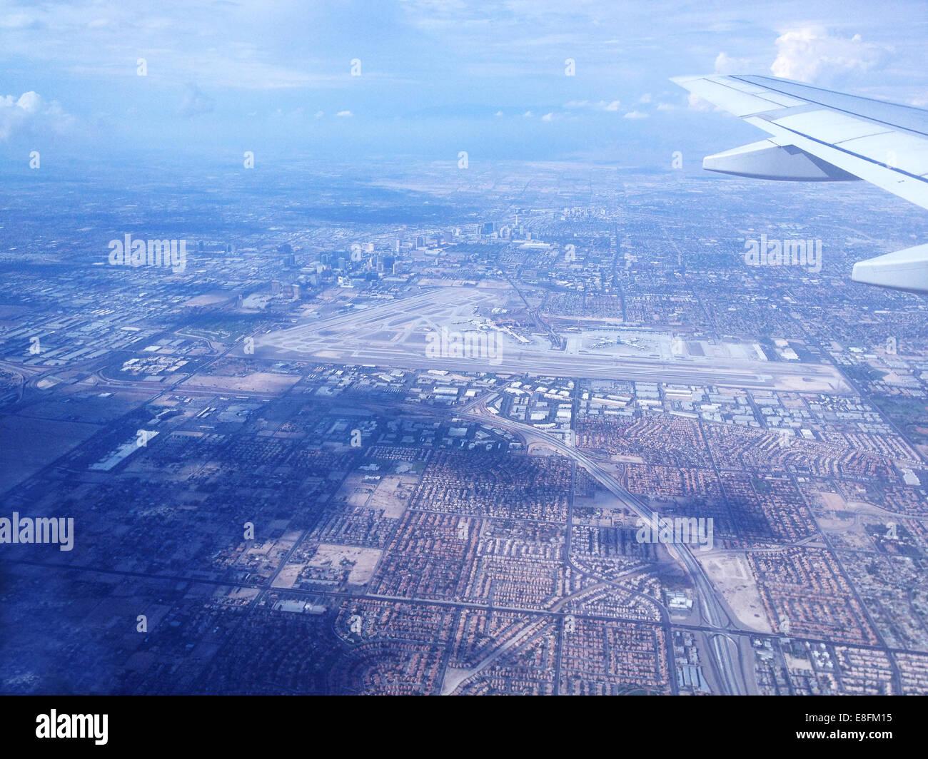 USA, Nevada, Las Vegas, Las Vegas seen from airplane - Stock Image