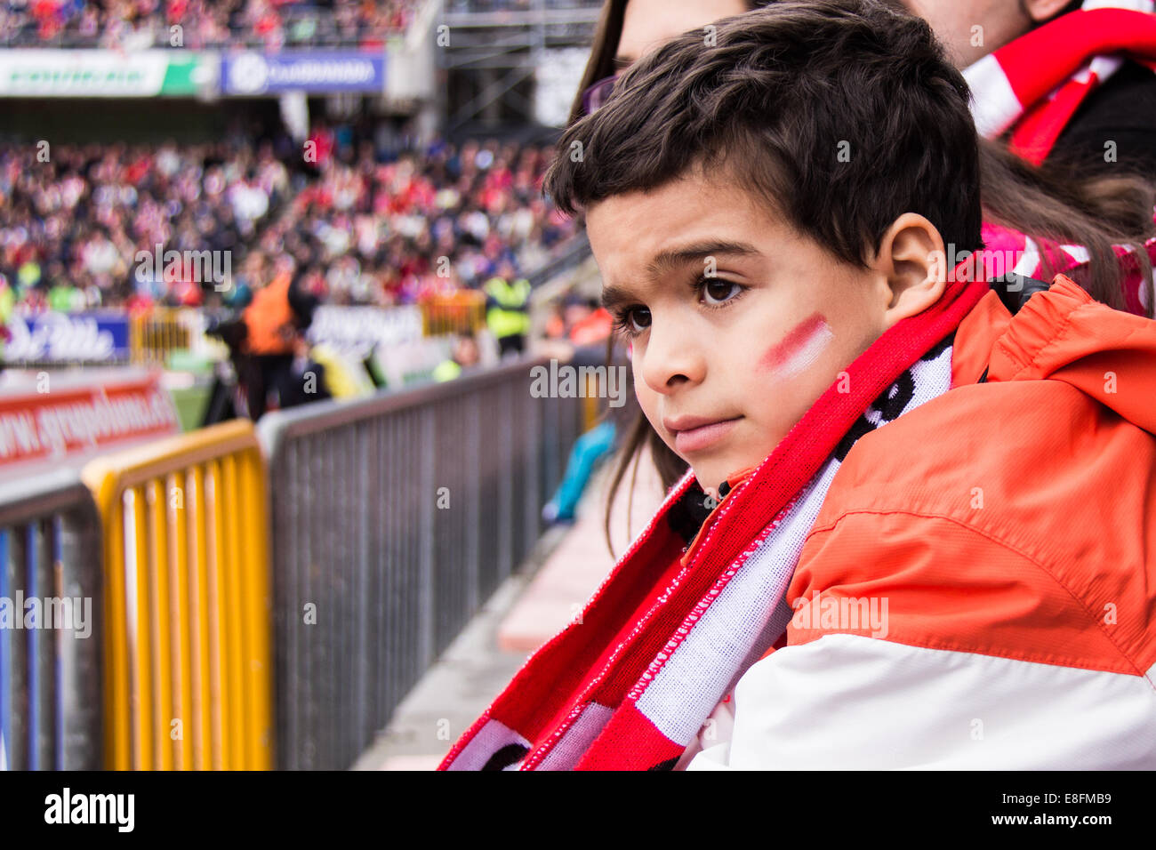 Spain, Madrid, Boy (6-7) at football match Stock Photo