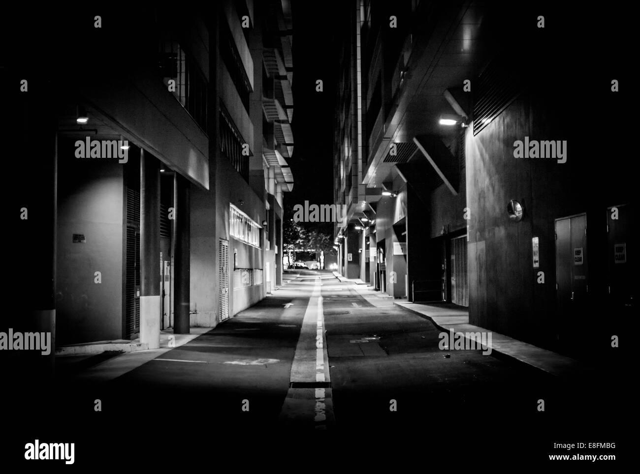 Street lights illuminating an alley, Acton, Canberra, Australia - Stock Image