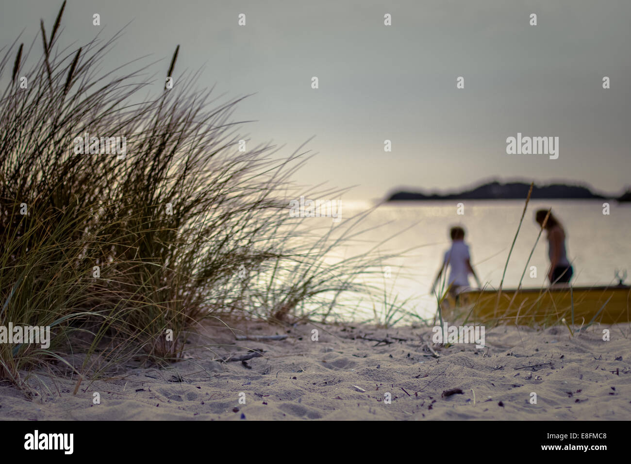 Norway, Kids playing on beach - Stock Image