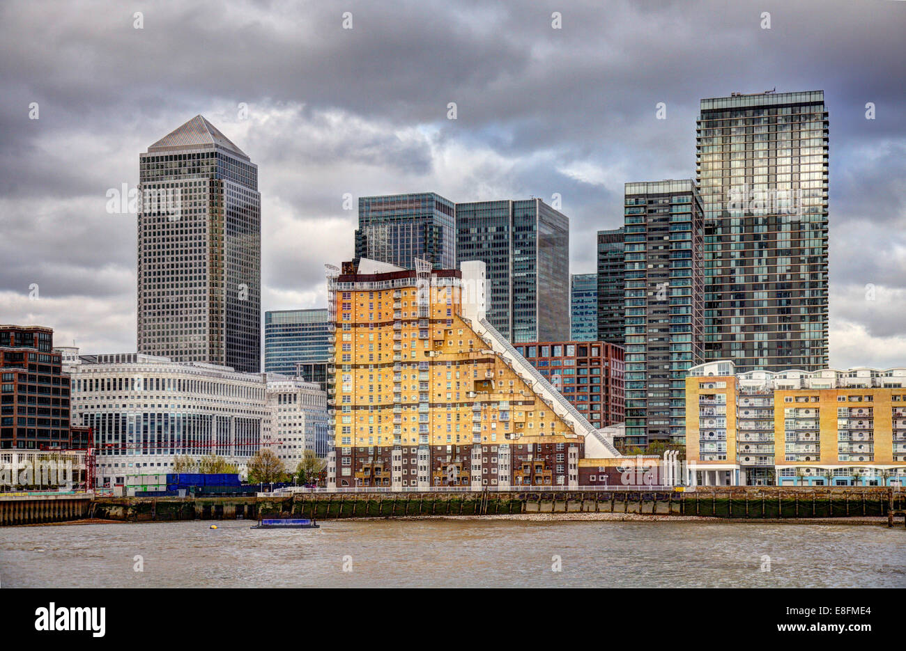 United Kingdom, London, View of Canary Wharf - Stock Image