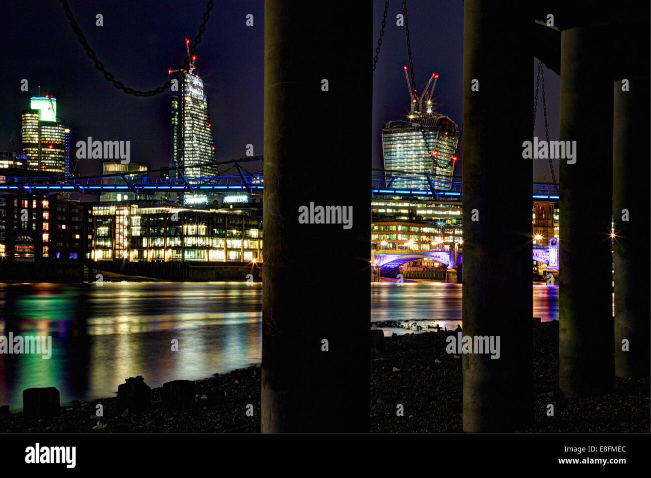 United Kingdom, England, London, Cityscape with Tower 42, Leadenhall Building, Walkie Talkie, Millennium Bridge - Stock Image