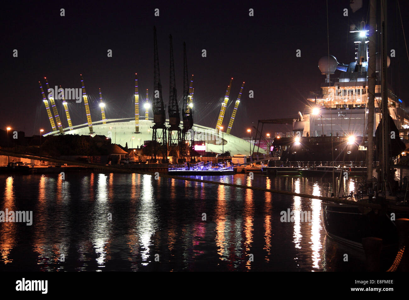 United Kingdom, England, London, View of South Dock with O2 Stock Photo