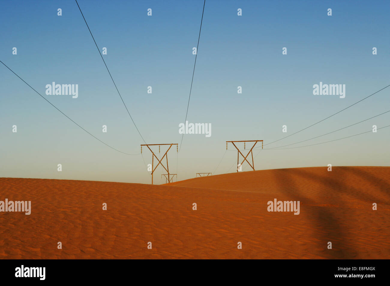 Namibia, Power lines in desert - Stock Image