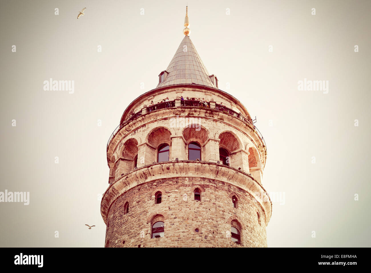 Turkey, Istanbul, Low angle view of Galata Tower - Stock Image