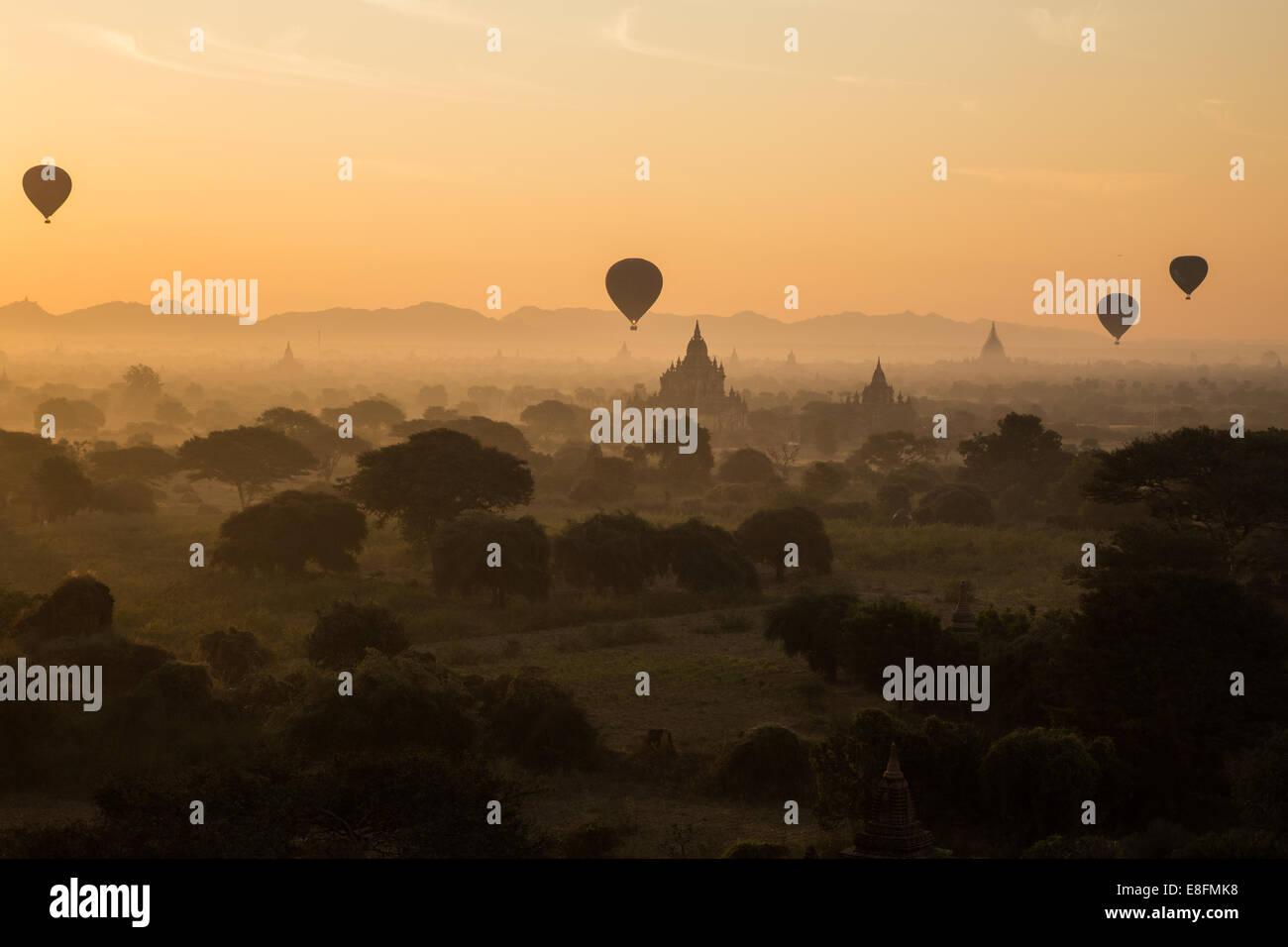 Myanmar Hot Air Balloons At The Sunrise, Bagan - Stock Image