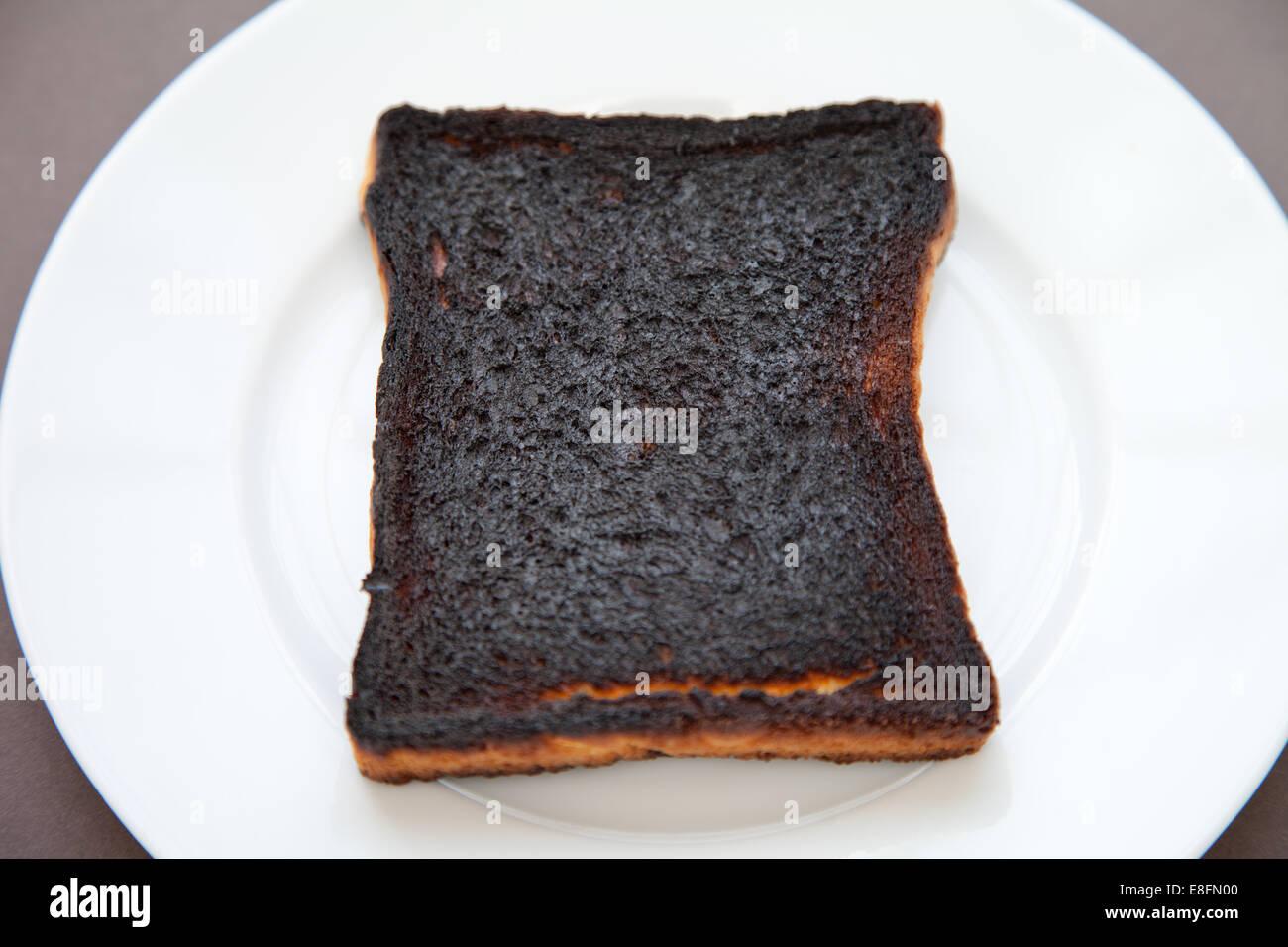 Slice of burnt toast on a plate - Stock Image
