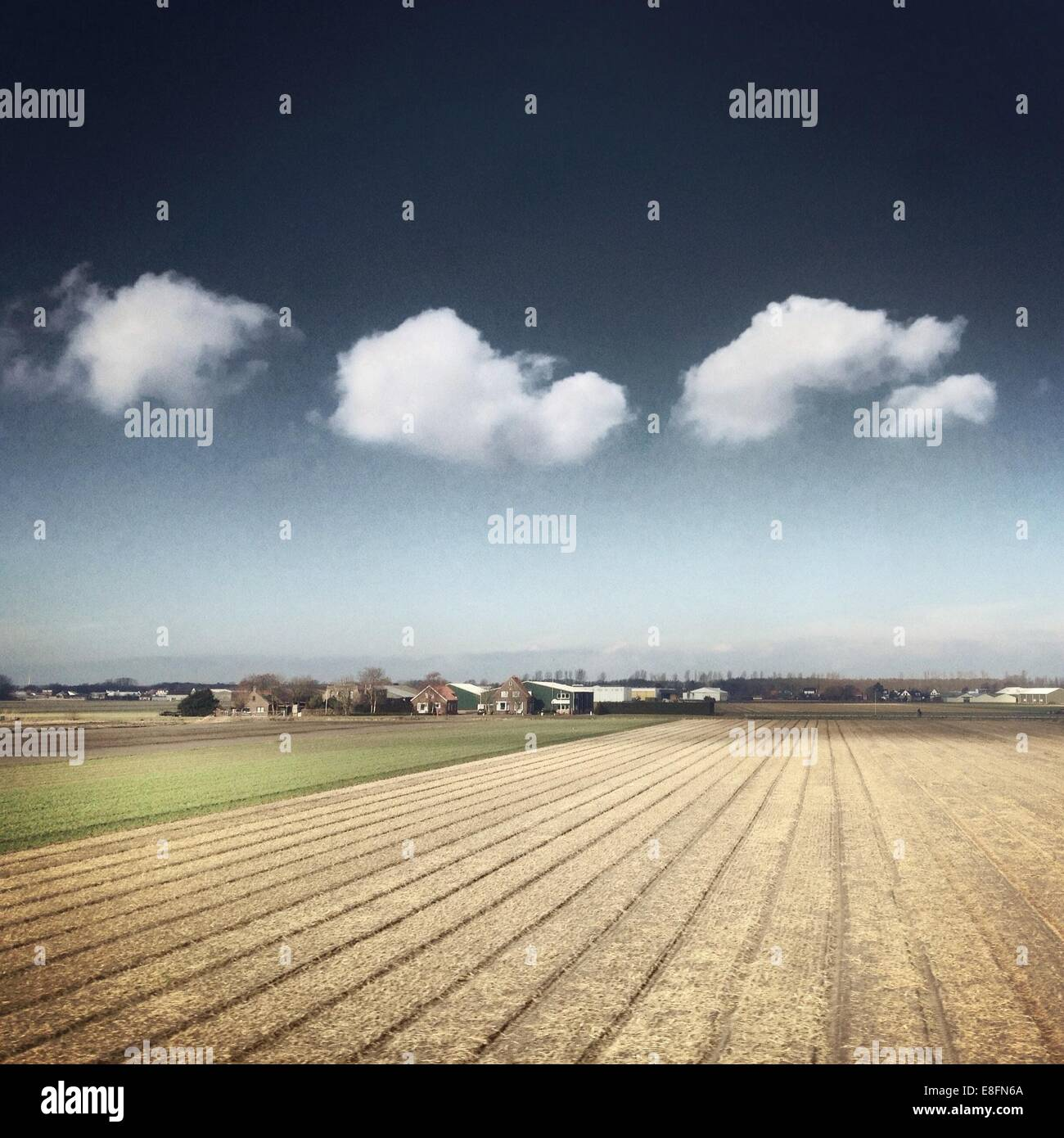 Ploughed field with farm - Stock Image