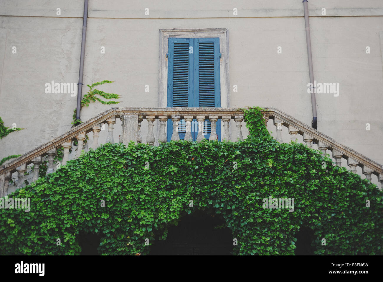 Italy, Lombardia, Pavia, Nazzano, Detail of light blue door in old castle - Stock Image